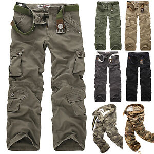 Military-Men-039-s-Cotton-Cargo-Pants-Combat-Camouflage-Camo-Army-Hiking-Trousers