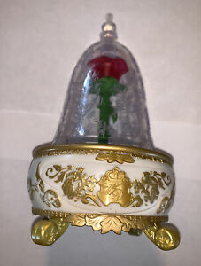 ROSE TIN ALLOY VINTAGE  MUSIC BOX BEAUTY AND THE BEAST