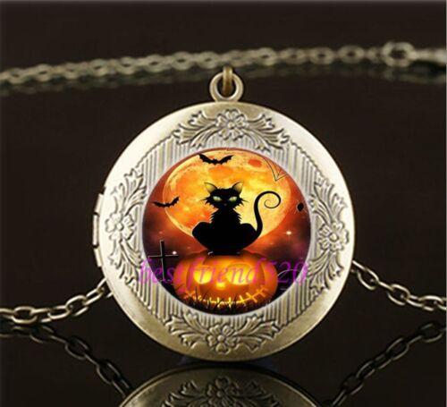 Vintage Halloween Cat Photo Cabochon Glass Brass Locket Pendant Necklace