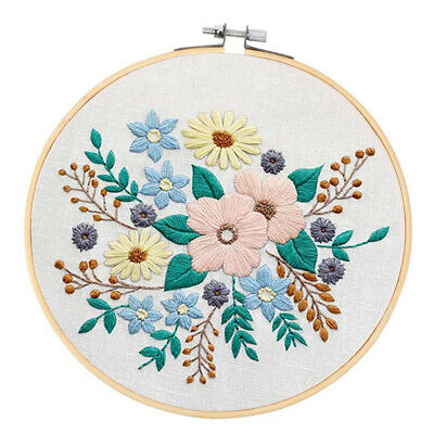 Full Range Embroidery Starter Kit with Pattern Stamped Cross Stitch Kits for Adults Cotton Fabric Embroidery Kit for Beginners Needlepoint Kits for Adults Hand Embroidery Hoops Floss Embroidery Cloth