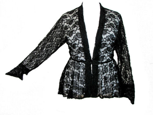 Dark Star Plus Size Black Lace Gothic Duster Jacket Frog Fastening L XL 1X 2X 3X