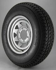 "Radial Trailer Tire On Silver Rim ST225/75R15 Load D (6 Lug On 5.5"") Spoke Wheel"