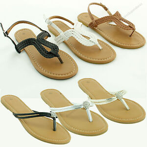 Women-039-s-New-Gladiator-Flat-Braided-Sandals-T-strap-Flip-Flops-Thong-Shoe-Size