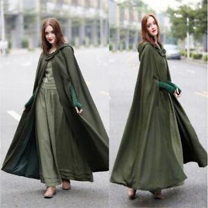 US-Womens-Lady-Winter-Warm-Coat-Wool-Poncho-Long-Jacket-Cloak-Cape-Parka-Outwear