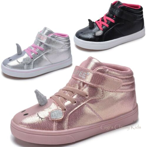Girls Pink Blush Silver Black Unicorn High Top Sneakers Tennis Shoes Kids Youth