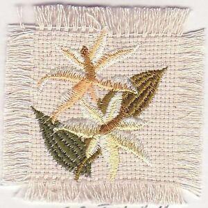 """2.5 """" Pêche Orchidée Fleur Toile Broderie Patch"""