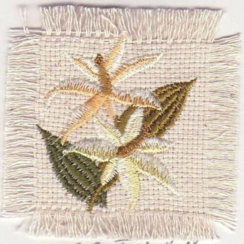 """2.5/"""" Peach Orchid Flower Canvas Embroidery Patch"""