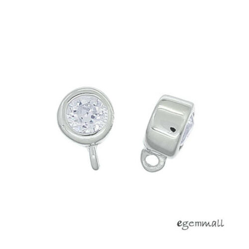 2 Rhodium Plaqué Argent Sterling Petites CZ Dangle Charm Beads 5.2 mm #97940