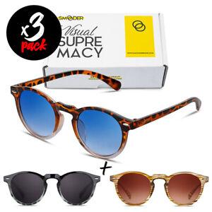 Tris occhiali da sole SMOODER Pack DOGMA [Premium] uomo/donna tondi vintage