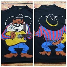 90s VTG TAZ Tasmanian Devil LOONEY TUNES M Cowboy 2 Sided Dallas T Shirt Western