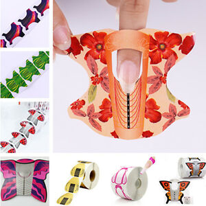 20-100-500pcs-Adhesive-Flower-Nail-Forms-Acrylic-UV-Gel-Nail-Art-Extension-Tips