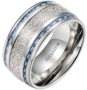 Mens-10mm-Meteorite-Inlay-Titanium-Wedding-Band-Ring-With-Blue-Carbon-Fiber