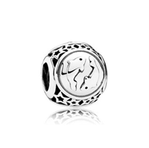 Twelve constellation European CZ Charm Beads Fit 925 Silver Necklace Bracelet