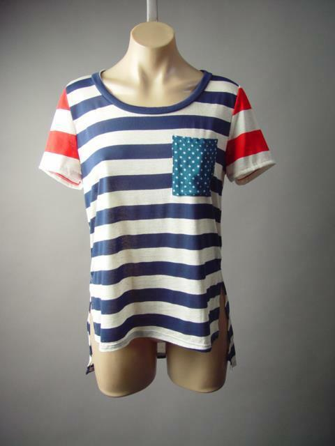 Navy Blue Red Neutral Stripe Star Americana US Flag Top Tee 194 mv T-Shirt S M L