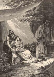 Greek-Mythology-IPHIGENIA-KING-AGAMEMNON-ARTEMIS-Old-1882-Art-Print-Engraving
