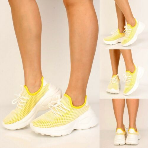 Women Fashion Running Athletic Slip on Yellow White Netted Sneakers Shoes size