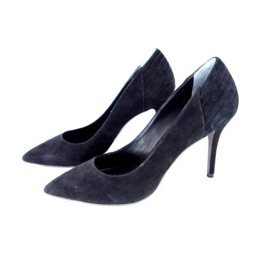 Women Black Spitz pumps Scarpe Leather 39 Gr Nuovo 40 129 Np What For Stiletto pUqnxpR