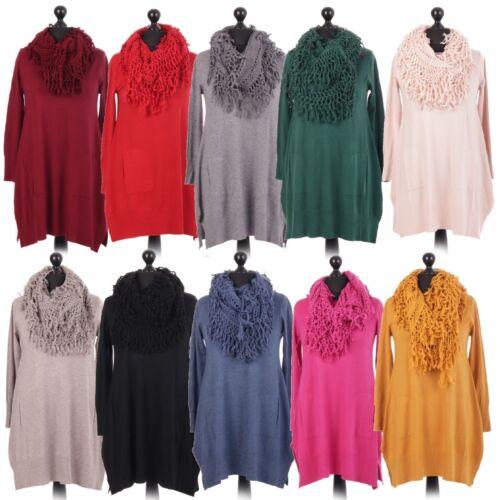 Ladies Italian Lagenlook Knitted Jumper Top Mesh Scarf Pocket Dress Size 12-18