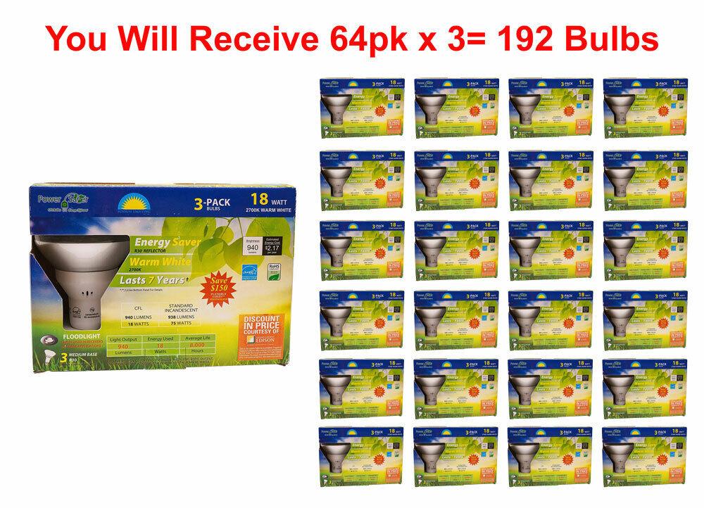 192x Bombilla Reflectores Fluorescente Compacta Lámpara Fluorescente Compacta 18W 75 vatios 64x3pk equivalente