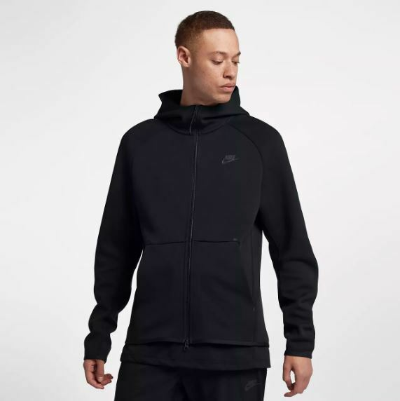 232a52d24f85 Nike Tech Fleece Full Zip Hoodie Mens 928483-010 All Black Hoody ...