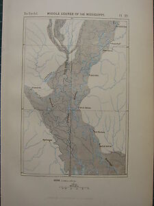 1886 ANTIQUE MAP ~ MIDDLE COURSE OF THE MISSISSIPPI RIVER FORT ADAMS BATON ROUGE