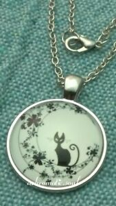 Wicca Black Cat 25MM Photo Cabochon Dome Glass Chain Pendant Necklace