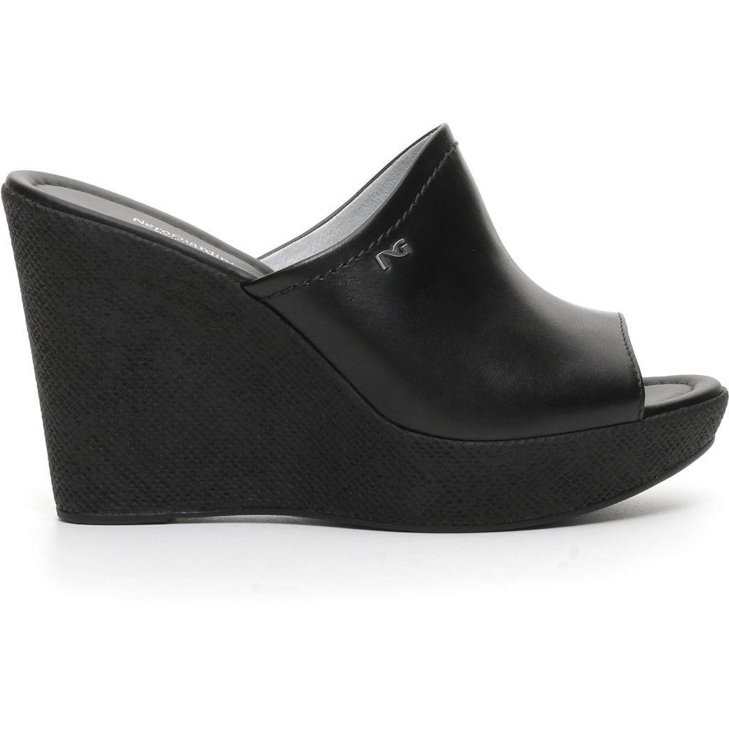 Sandalo estivo negroGiardini nuova collezione P717631D pelle made in
