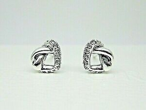 Authentic Pandora Sterling Silver 925 Knotted Heart Stud Earrings 298019cz