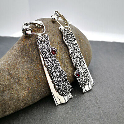 Woman Vintage 925 Silver Ruby Earrings Hook Drop Wedding Engagement Gift Party