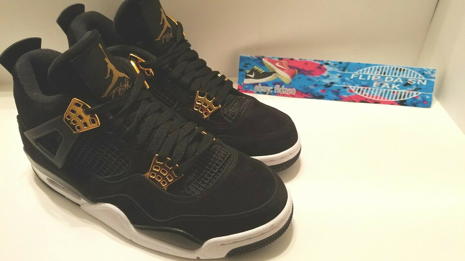 Nike air jordan retro - mens schwarzes gold iv 308497-032 basketball - größe 8
