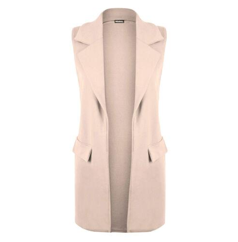 New Ladies Women Casual Mock Pocket Sleeveless Crepe Waistcoat Blazer Top 8-26