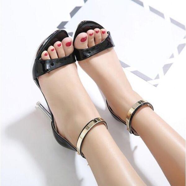 sandalias de mujer talón 10 cm elegantes tacón aguja negro oro como piel CW318