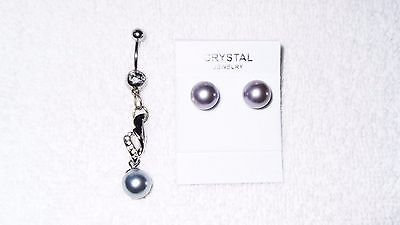 Faux Silver Pearl Belly Button Navel Ring Body Jewelry Piercing Free Earrings Ebay
