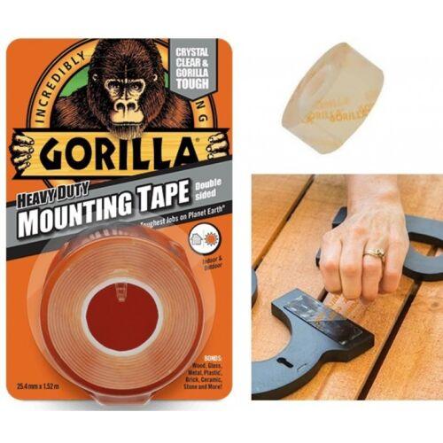 Gorilla Double Face Robuste Clair bande de montage 25.4 mm x 1.52 m