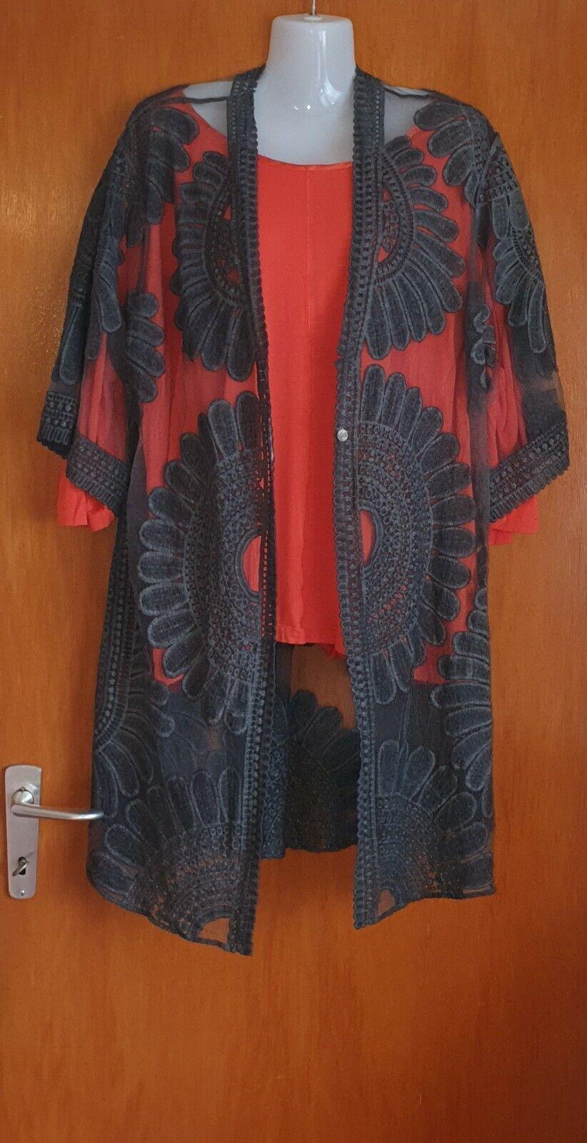 2 Teiler/ Tredy Jacke/ Überwurf,Transparent/ Bluse, Tshirt/ Dunkelgrau/ Gr. 40,