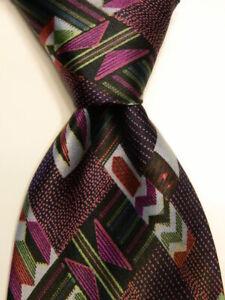BRIONI-Men-039-s-100-Silk-Necktie-ITALY-Luxury-Designer-Geometric-Blue-Purple-GUC