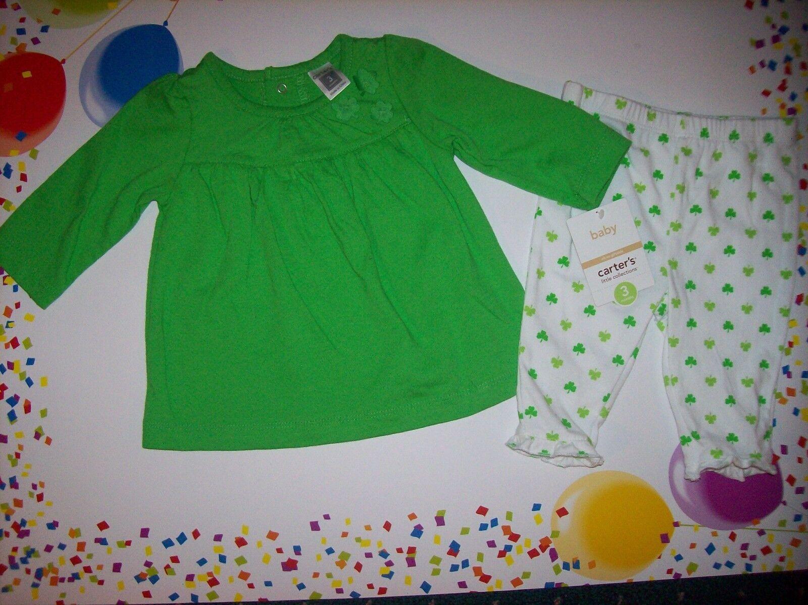 645814a13 Carter's Shamrock 2pc Set Dress Top Pants St Patricks Day Green Sz 3 ...