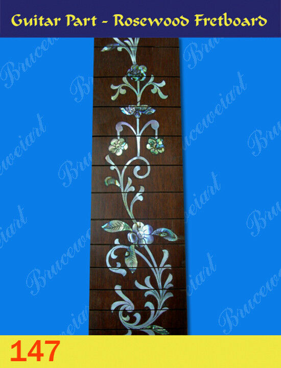 Free Shipping, Guitar Part - Slotted pinkwood Fretboard w  Mop Art Inlay (G-147)