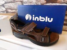 Nuevo/Caja Inblu Para Hombre De Cuero Marrón Zapatos De La Sandalia Playa de Vacaciones Talla 11UK EUR45