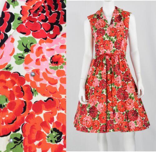 50's Vintage Handmade Red Floral Print Tea Dress W