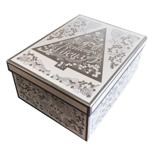 Luxury Shiny Silver /& White Christmas Gift Boxes Nested Party Storage Presents