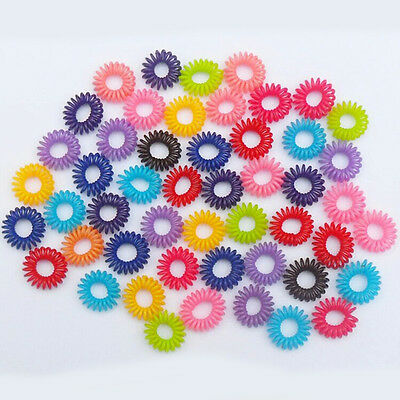 10Pcs Fashion Colorful Girl Elastic Rubber Hair Ties Band Rope Ponytail Holder