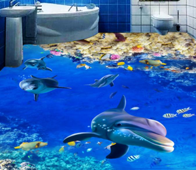 3D Shark Animal 98 Floor WallPaper Murals Wall Print Decal AJ WALLPAPER US Carly