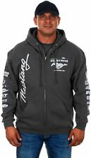 Mens Ford Mustang Hoodie Gray Charcoal Zip Sweatshirt Screen Printed Logos SALE