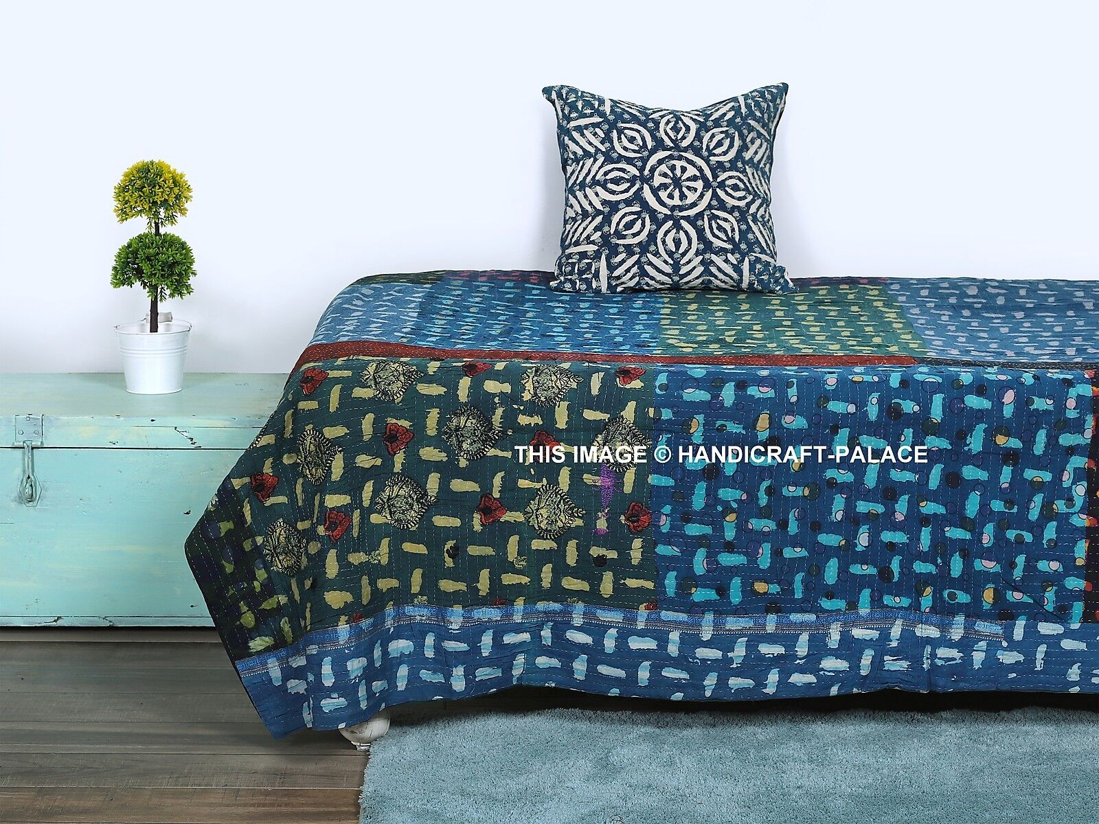 Indigo Kantha Quilt Twin Reversible Floral Cotton Bed Spread Bedding Coverlet