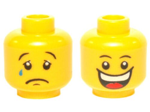 LEGO Minifig Head Dual Sided Huge Grin // Sad with Tear Yellow