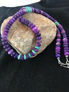 Navajo-Indian-Purple-Sugilite-Turquoise-Bead-Sterling-Silver-Necklace-Gift-E-320