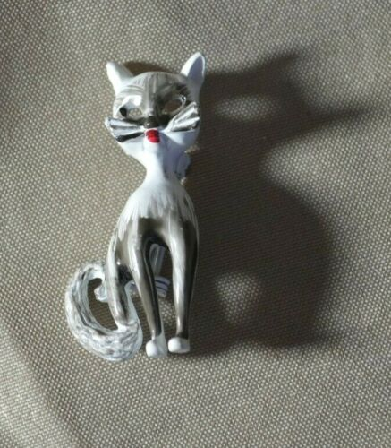 Vintage Siamese Cat Sterling Silver 2.5 Tall Pin Brooch