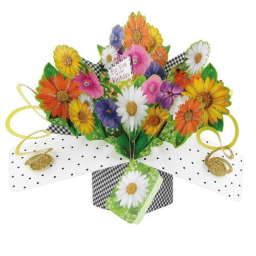 Flowers Pop-Up Birthday Greeting Card Original Second Nature 3D Pop Up Cards