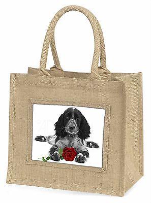 Cocker Spaniel S+W mit rotem Rose Große Natürliche Jute-einkaufstasche,